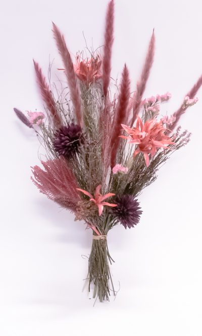 droogboeket fel roze