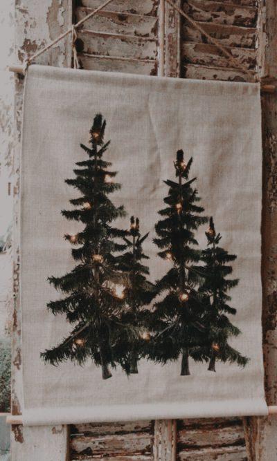posterdoek kerstbomen